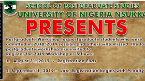SPGS Workshops for PGC 601 & PGC 701 For 2018/2019 Session
